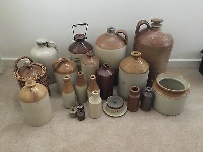 Vintage Collection Of Pottery Bottles Jars Country Style Prop Styling Vignettes