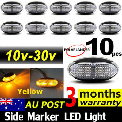 10 X 10V-30V Side Marker Led Yellow  Lights Clearance Lamps Trailer Truck Lorry