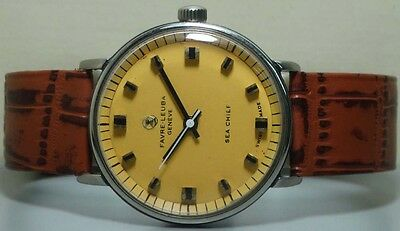 VINTAGE Favre Leuba Seachief GENEVE WINDING MENS WATCH USED r976 Old Antique