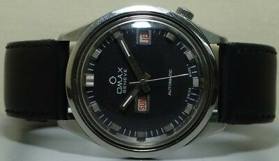 Vintage Omax Automatic Day Date Mens Wrist Watch s98 Old Used Antique