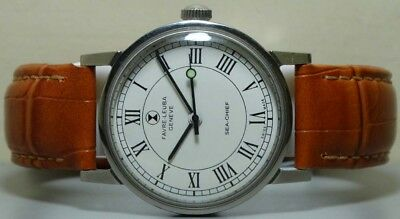 VINTAGE Favre Leuba Seachief GENEVE WINDING MENS WATCH USED s203 Old Antique