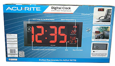 "Acurite Large Display Wall / Desk 18"" LED Digital Clock With Temparature & Date"
