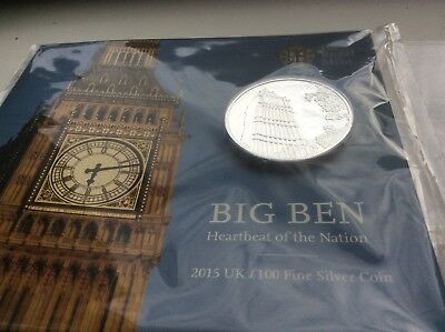 Big Ben £100 coin dated 2015. Solid silver. Brilliant Uncirculated. Rare.