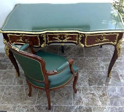 Partner DESK WRITING TABLE Louis XV style gilt bronze mounted tulipwood+chairs