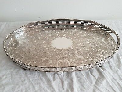 Large Oval Rise And Fall Silver Plated Gallery Tray
