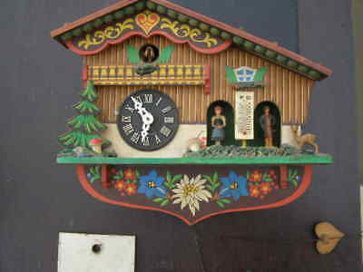 Vintage Painted Swiss Chalet Cuckoo Clock With Weather Station & Thermometer