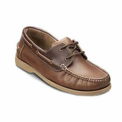 Mens DTT Clifford James Leather Boat Shoe Casual Work Beach Smart Lace Up Brown