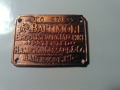 Antique Baltimore Broom Sewing Machine Brass Name Tag Plate Heavy