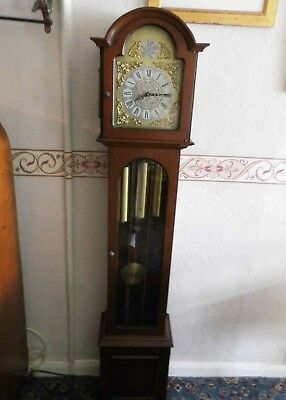 Mahogany Grandmother Clock 8 Day Westminister Chimes Fully Working