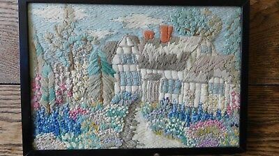 Antique Framed Wool Embroidered Picture