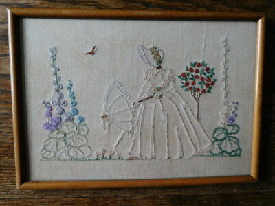 Antique Framed Crinoline Lady Embroidered Picture