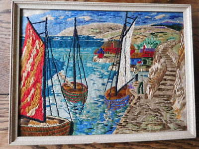 Antique Framed Silk-Embroidered Picture Sailing
