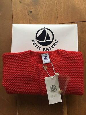 Petit Bateau, red cardigan, wooden buttons, 12 months, new with tags