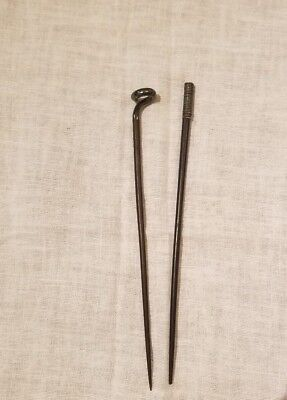 Antique Chinese Trousse Sterling and Rosewood Chopsticks Art Pieces HANDMADE
