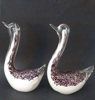 """Pair of 2 Glass SWAN Figurines Collectible Bird Figures - Purple White Clear 6"""""""