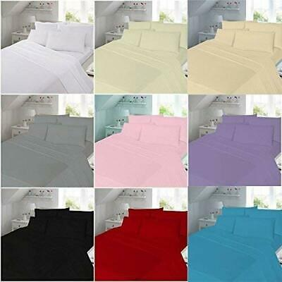 Full Flat Sheet Bed Sheets 100% Poly Cotton Single Double King Super King Size