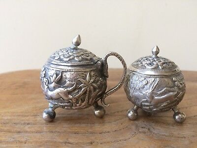 Kutch Indian Silver Mustard And Pepper  Pots Maker OM? AnimalsTrees Decoration
