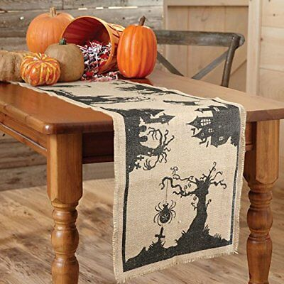 AerWo 14 x 74 Inch Halloween Burlap Table Runner Black Spider Tassel Tablecloth