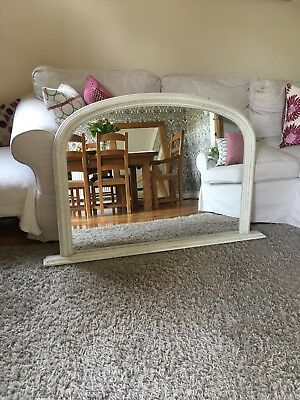Vintage Over Mantel Mirror - Crackled Shabby Chic
