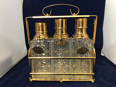 Vintage Brass Tantalus Caddy Three 3 Glass Liquor Decanter Set w/ Pump Spigots