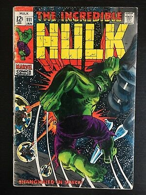 Marvel: Incredible Hulk (1969) #111 Silver Age  GD  Galaxy Master  (more listed)