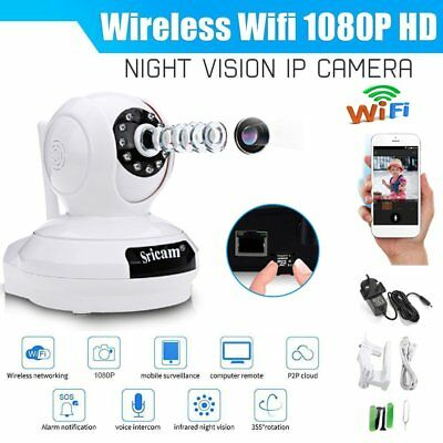 Sricam HD 1080P Wireless Wifi IP Camera CCTV Webcam Baby/Pet Monitor Pan EU