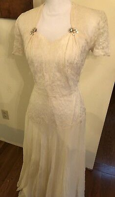 Vintage 1930s Lace Drop Waist Ivory Wedding Dress Free Shipping