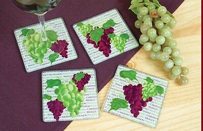 Art Glass Drink Coasters Set of 4 Wine Party Glass Wine Decor