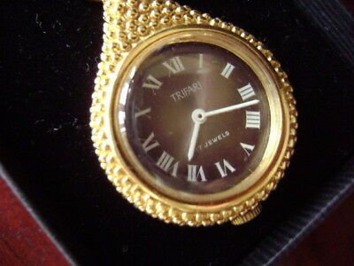 Vintage 1950/60 Trifari Necklace With 17 Jewel Pendant Watch Crown Trifari Signe