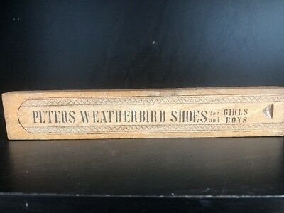 Vintage Peters Weatherbird Shoes Wooden Pencil Box Advertising