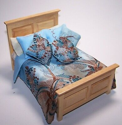 Handmade 12th scale doll house Embroidered bedding set for a double bed. D 471