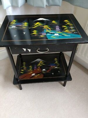 Vintage Japanese Black Lacquered Musical Table Circa 1950 / 60's