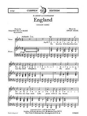 Mase O England Unison Piano Classical CHORAL VOICE VOCAL Present SHEET MUSIC