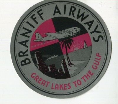 Vintage Airline Luggage Label BRANIFF AIRLWAYS silver foil Great Lakes 2 Gulf lg