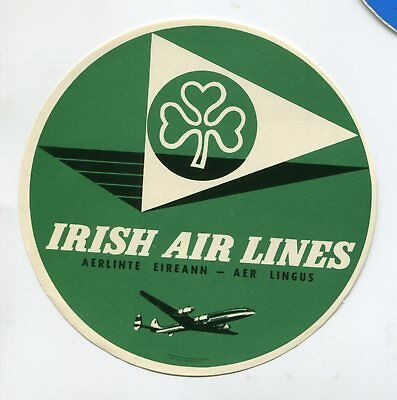 Vintage Airline Luggage Label IRISH AIRLINES AER LINGUS round