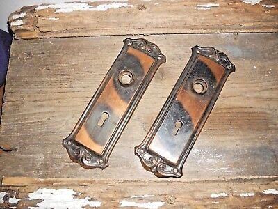 Vtg Set Fancy Ornate Tiger Stripe Copper Flash Japanned Door Knob Backplates