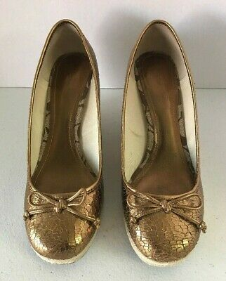 865c528983 COACH Ireland Crackled Metallic Gold Leather Rope Wedge Shoes Size 8.5 M