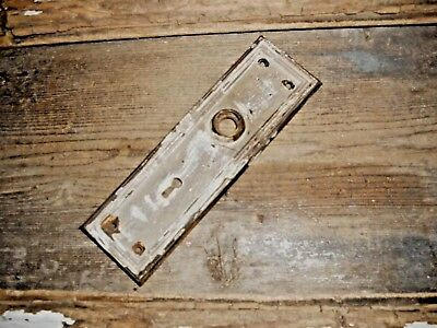 Vtg Off White Shabby Chippy Mission Raised Edge Door Knob Back Plate Art/craft