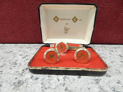 Vintage Shriner cuff links and tie bar -  Diamond Cut by Hit