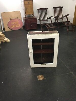 Edwardian Painted Glass Cabinet For Restoration Or Up Cycle