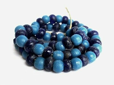 Old Islamic Middle Eastern Cobalt & Blue Evil Eye Beads Charm Necklace