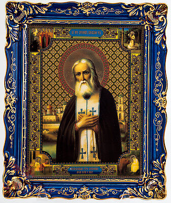 Porcelain gzhel decal Icon of Saint Seraphim of Sarov Икона Серафим Саровский