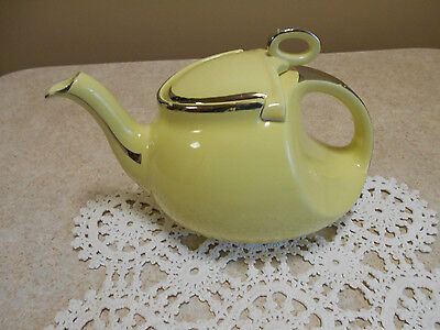 Vintage Hall's Streamline HARD TO FIND Canary w/ platinum trim Teapot