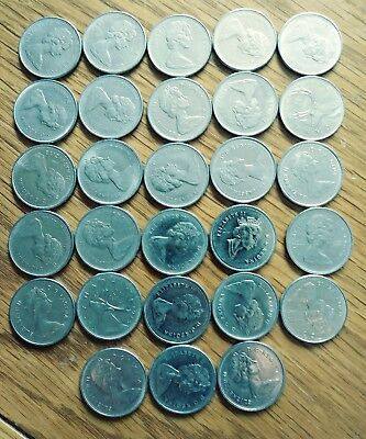 Lot of 28 Canadian Quarters, 23 from the 1970's, 4 from the 1980's and one 1990'