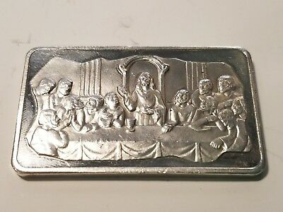 One Vintage Limited Edition 1 oz .999 Silver Bar THE LAST SUPPER 1973 J Calandra