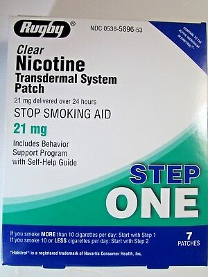 RUGBY Nicotine clear 21mg 7 patches exp 12/20 damaged box
