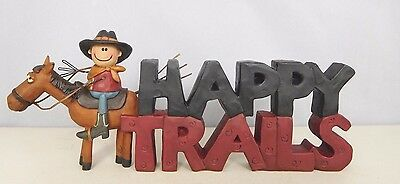 Happy Trails - New resin block with cowboy on his horse - Blossom Bucket #28820