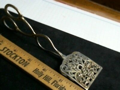 Hallmarked Baroque Silverplate Germany Serving Tongs antique vintage old silver