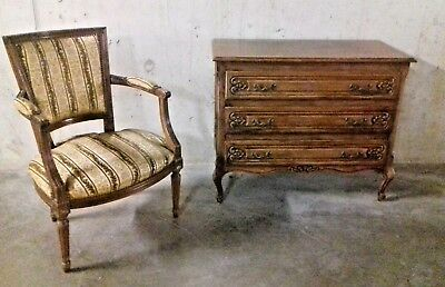 Vintage Louis XVI style chair and 3 tier chest of drawers