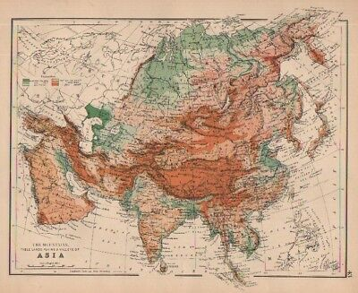 1880 map of Asia by W & A K Johnston